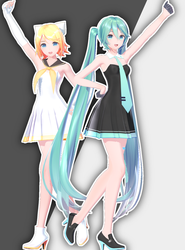 [DL] YYB White Dress Rin and Black Dress Miku by maydayfireball