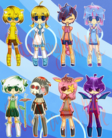 [OPEN - 1 LEFT] Pokemon Gijinka Set by RideAlongWithMe