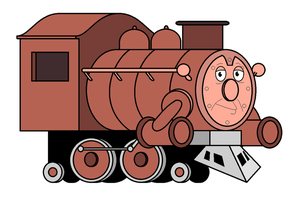 Pete the Big Brown Freight Engine by zeborahahill50