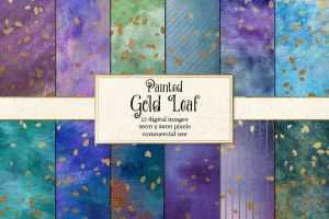 Painted Gold Leaf Backgrounds by DigitalCurio