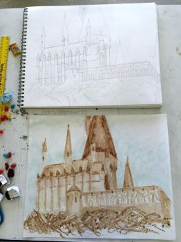 Hogwarts Sketch Done in Chocolate by CobblestoneHeart