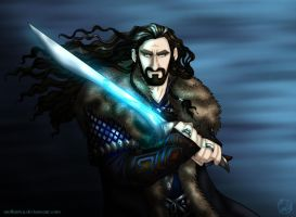 The Hobbit: Thorin in Blue by wolfanita