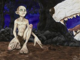 Smeagol and the wolf, first sighting by SkekLa