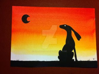 Moon gazing hare watercolour painting by billyboyuk