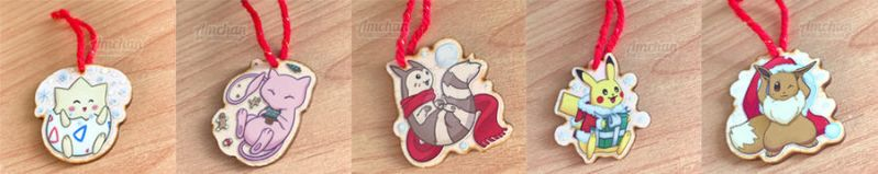Pokemon Christmas Wooden Ornaments by Asmaee