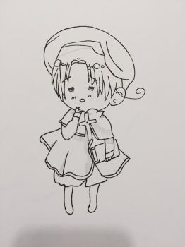 Black and White Chibi Italy Drawing  by Surdy12321