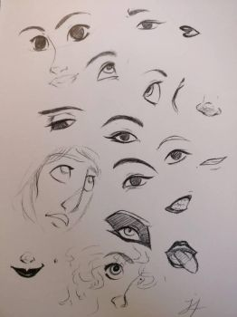 Eyes and face doodles by Jae-nox
