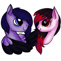 Point Commisions: PONIES!-Baddy and Black Feather by matrioshkka