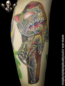 Mummy Cat By Daniel Toledo by toledotattoo
