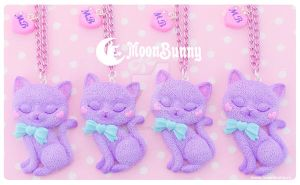 Ice cream kitten Necklace by CuteMoonbunny