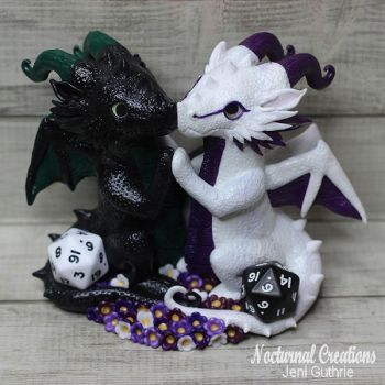 Black/White D20 Dragons [Cake Topper] by NocturnalCreations-x