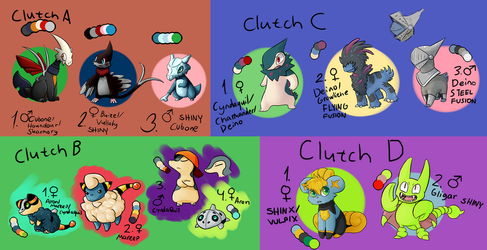 A Dump of 4 clutches - OPEN - by d4rk3r-kat
