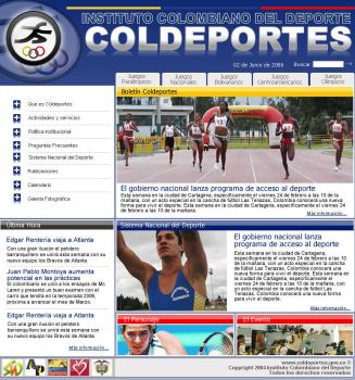 COLDEPORTES website proposal 1 by Juan-Ki