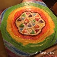 Painted Clay on Plywood: Flower of Life by AliDee33