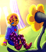 Frisk meet the the cute flower by SmasherlovesBunny500