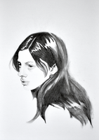 a woman portrait and long black hair by Neivan-IV