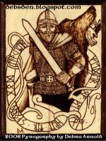 Tyr and Fenrir Pyrography by DebsDen