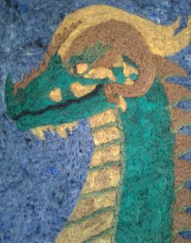 Galgizar Portrait - Needle Felt on Scrap Denim by CosmicRhapsody