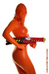 Orange PVC GasMask Zentai by AgnaDevi