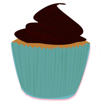 Turquoise Brown Cupcake Clip Art by Wisp-Stock