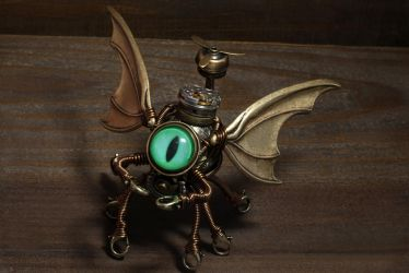 Cthulhu Steampunk Sculpture Minion with green eye by CatherinetteRings