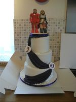 Purple Drape Wedding Cake With Topper by gertygetsgangster