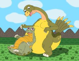 Spike sits on Foobie's yellow belly by MCsaurus