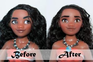 Disney Moana/Vaiana Doll Repaint | Before - After by the-art-of-claude