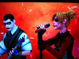 Joker and Harley Rocking Out? by heatona