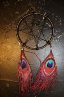 Nontraditional Dreamcatcher: Wire and Peacock by Radiant-Cadenza