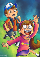 Dipper and Mabel - Commission by Kosmotiel