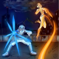 The orange and the blue fighter by Lord-Evell