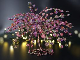 Pink mirage - bead and wire tree of life by Twystedroots
