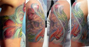 sugar skull half sleeve by michaelbrito