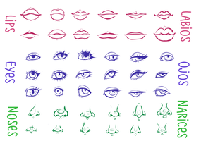Lips/Eyes/Noses    Labios/Ojos/Narices by Smelly-Mouse