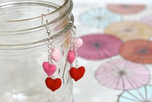 Miniature Heart Earrings by TheBittiestBaubles