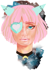 Study/Warmup Sketch: Girl with pink hair by eizu