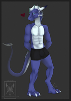 Blue Dragon With Black Shorts by Minerea