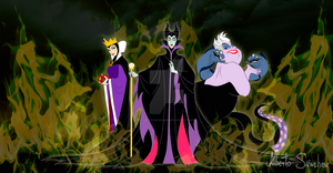 Evil Quenn, Maleficent and Ursula Disney Villains by AlbertoSanCami