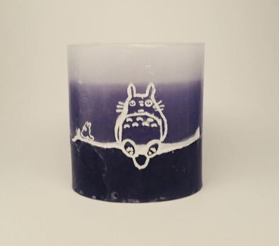 Totoro Candle (Front) by SacredFootballLB