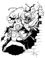 Spidey vs Venom pen and ink by Jayson-kretzer