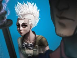 Female Ekko and Viktor by PurpleLemon13
