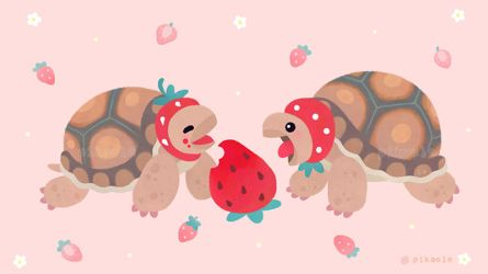 Tortoises love strawberries by pikaole