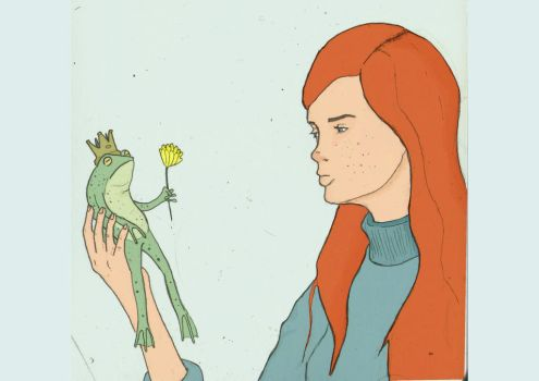 Girl with frog by Tasteyfrog