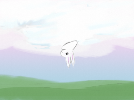 Rabbit Riding a Cloud Poking Head Out Upside Down by AwakeNight