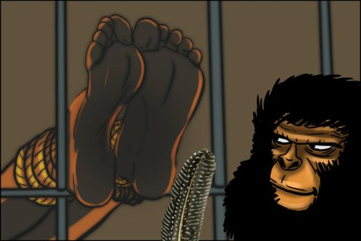 Tickle torture on The Planet of the Apes by talpimado