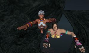 Elena and Christie Swimming in a Cave by Stylistic86