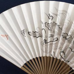 Morning Chase, oriental Japanese handpainted fan by catherinejao