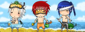 +Dgm beach chibis+ by Evil-usagi