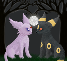 Espeon and Umbreon by TheSniperwolfy